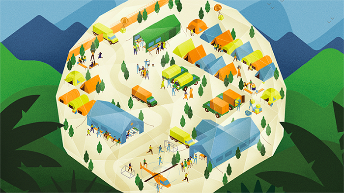 An illustration of a refugee camp with buildings, tent and people moving about.